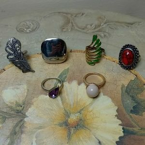 Jewelry - Set of 6 chunky fashion & vintage rings - size 9